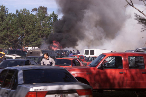 2001 World Rally Championship. ArgentinaMay 3rd-6th, 2001The fire in the car park on stage 11 which consequently led to Skoda's retirement, as a fire bowser crashed into their cars in a service time control.Photo: Ralph Hardwick/LAT