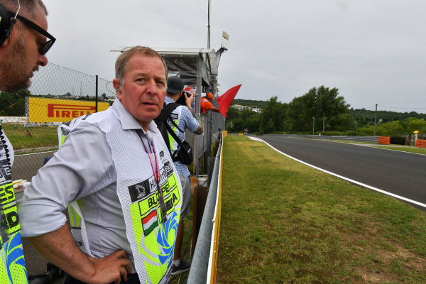 Martin Brundle, Sky Sports F1, takes in the action