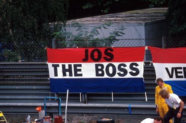 Jos Verstappen (NED) acquired his nickname ÔJos the BossÕ early in his racing career as some of his supporters demonstrate.