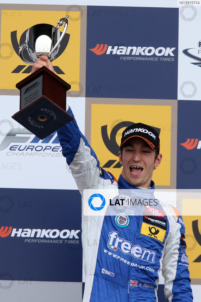 2013 FIA F3 European Championship, Silverstone, Northamptonshire. 12th - 14th April 2013. Harry Tincknell (GBR) Carlin Dallara Volkswagen. World Copyright: Ebrey / LAT Photographic.