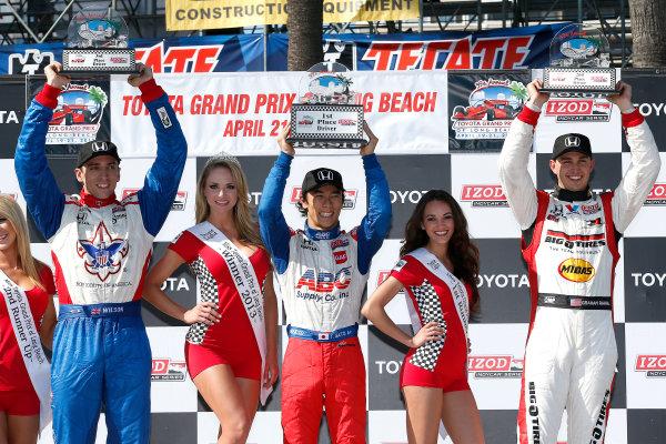 19-21 April, 2013, Long Beach, California, USA Justin Wilson, Takuma Sato and Graham Rahal on the podium © 2013, Michael L. Levitt LAT Photo USA
