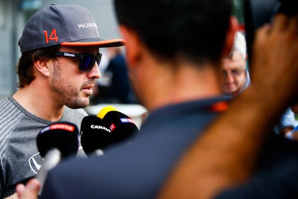 Sepang International Circuit, Sepang, Malaysia. Thursday 28 September 2017. Fernando Alonso, McLaren, talks to press. World Copyright: Andy Hone/LAT Images  ref: Digital Image _ONZ8694
