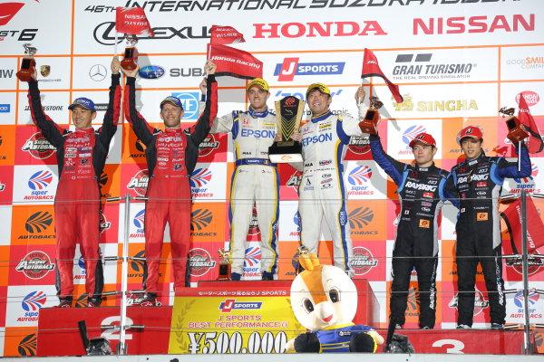 2017 Japanese Super GT Series. Suzuka, Japan. 26th - 27th August 2017. Rd 6.. GT500 Winner Bertrand Baguette & Kosuke Matsuura ( #64 Epson Modulo NSX-GT ) 2nd position Tsugio Matsuda & Ronnie Quintarelli ( #23 MOTUL AUTECH GT-R ) 3rd position Naoki Yamamoto & Takuya Izawa ( #100 RAYBRIG NSX-GT ) podium portrait World Copyright: Yasushi Ishihara / LAT Images. Ref: 2017SGT_Rd6_008