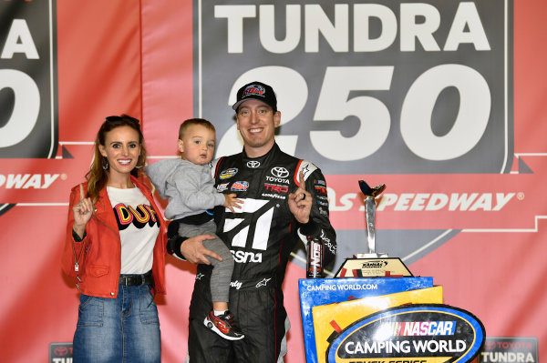 NASCAR Camping World Truck Series Toyota Tundra 250 Kansas Speedway, Kansas City, KS USA Friday 12 May 2017 Kyle Busch, Cessna Toyota Tundra celebrates his win in Victory Lane World Copyright: Nigel Kinrade LAT Images ref: Digital Image 17KAN1nk07211