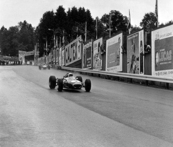 1966 Belgian Grand Prix.Spa-Francorchamps, Belgium. 12 June 1966.Jack Brabham, Brabham BT19-Repco, 4th position, leads Lorenzo Bandini, Ferrari 158/246, 3rd position, action.World Copyright: LAT PhotographicRef: 34840
