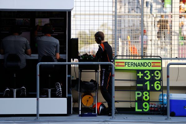 Baku City Circuit, Baku, Azerbaijan. Sunday 25 June 2017. The pit board of Fernando Alonso, McLaren, showing the Spaniard in p8. World Copyright: Steven Tee/LAT Images ref: Digital Image _R3I3943