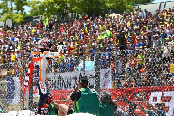 2017 MotoGP Championship - Round 7 Circuit de Catalunya, Barcelona, Spain Sunday 11 June 2017 Marc Marquez, Repsol Honda Team celebrate World Copyright: Gold & Goose Photography/LAT Images ref: Digital Image 677075