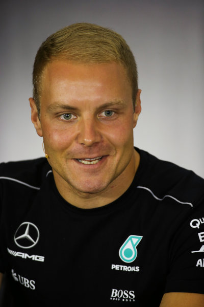 Silverstone, Northamptonshire, UK.  Thursday 13 July 2017. Valtteri Bottas, Mercedes AMG, in the Thursday press conference. World Copyright: Charles Coates/LAT Images  ref: Digital Image DJ5R0703