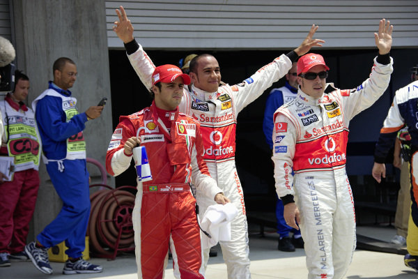 The Top 3 of qualifying: 3rd place Felipe Massa, pole sitter Lewis Hamilton and 2nd place Fernando Alonso.