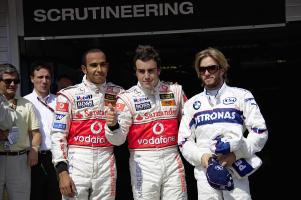 The Top 3 of qualifying: Lewis Hamilton, 2nd position, pole sitter Fernando Alonso and Nick Heidfeld a surprising 3rd. Fernando Alonso would subsequently receive a 5-place grid penalty for misconduct in Q3, promoting teammate Hamilton to pole position.