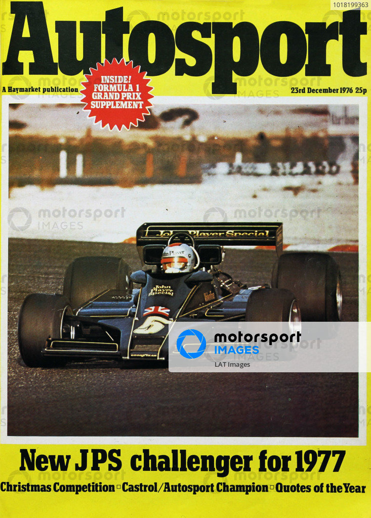 Cover of Autosport magazine, 23rd December 1976