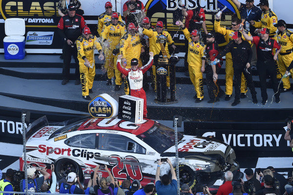 #20: Erik Jones, Joe Gibbs Racing, Toyota Camry DeWalt celebrates his win