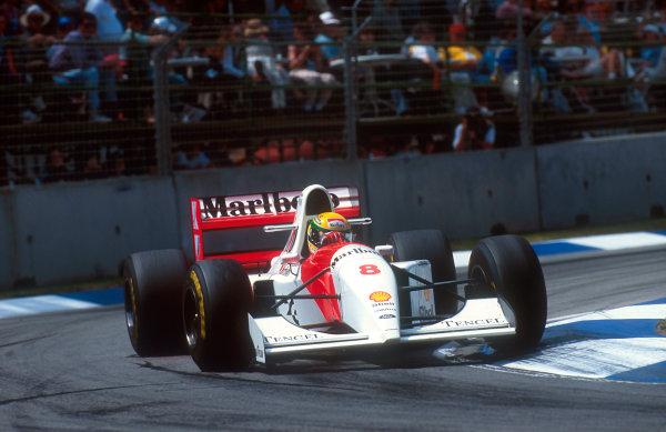 1993 Australian Grand Prix.Adelaide, Australia.5-7 November 1993.Ayrton Senna (McLaren MP4/8 Ford) 1st position, his last Grand Prix win.Ref-93 AUS 06.World Copyright - LAT Photographic
