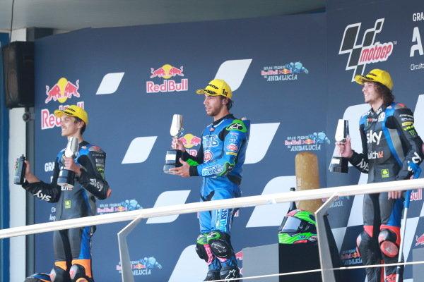 Podium: Luca Marini, Sky Racing Team VR46, Enea Bastianini, Italtrans Racing Team, Marco Bezzecchi, Sky Racing Team VR46.