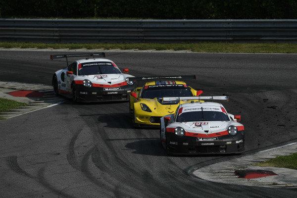 #911 Porsche GT Team Porsche 911 RSR, GTLM: Patrick Pilet, Nick Tandy, #4 Corvette Racing Corvette C7.R, GTLM: Oliver Gavin, Marcel Fassler, #912 Porsche GT Team Porsche 911 RSR, GTLM: Earl Bamber, Laurens Vanthoor