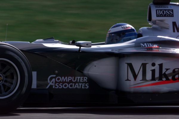 2000 French Grand Prix.Magny-Cours, France. 30/6-2/7 2000.Mika Hakkinen (McLaren MP4/15 Mercedes) 2nd position.World Copyright - LAT Photographic