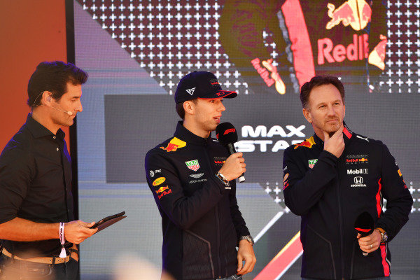 Pierre Gasly, Red Bull Racing, and Christian Horner, Team Principal, Red Bull Racing, at the Federation Square event