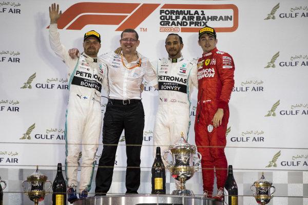 Valtteri Bottas, Mercedes AMG F1, Race Winner Lewis Hamilton, Mercedes AMG F1 and Charles Leclerc, Ferrari celebrate on the podium