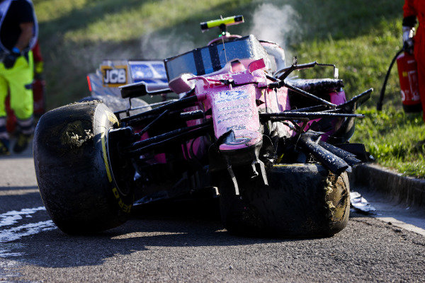 Damaged car of Lance Stroll, Racing Point RP20 after being recovered by marshalls