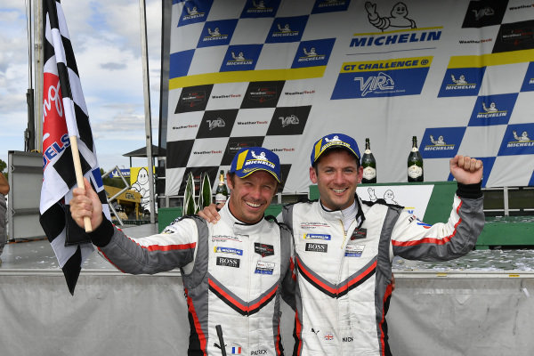 #911 Porsche GT Team Porsche 911 RSR, GTLM: Patrick Pilet, Nick Tandy celebrate the win in victory lane