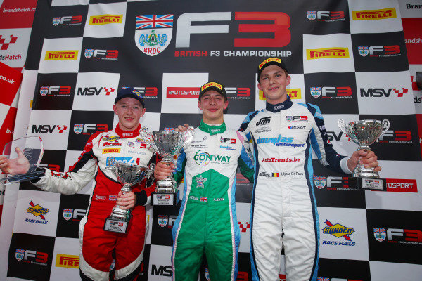 Race 3 Podium (l-r) Johnathan Hoggard (GBR) Fortec Motorsports BRDC F3, Kiern Jewiss (GBR) Douglas Motorsport BRDC F3, Ulysse De Pauw (BEL) Douglas Motorsport BRDC F3