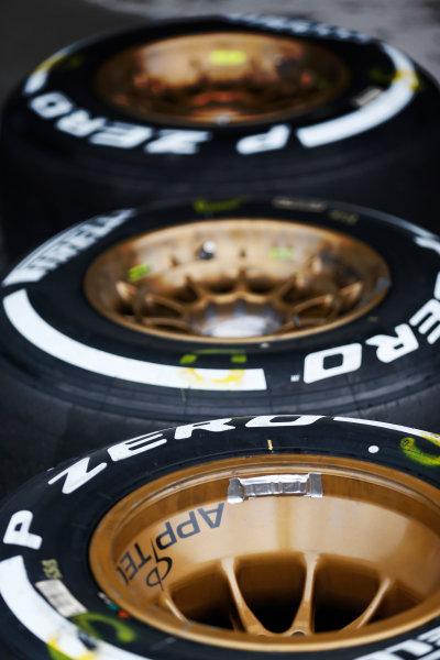 Suzuka Circuit, Suzuka, Japan.  Saturday 26 September 2015. Tyres ready for use. World Copyright: Alastair Staley/LAT Photographic ref: Digital Image _R6T1464