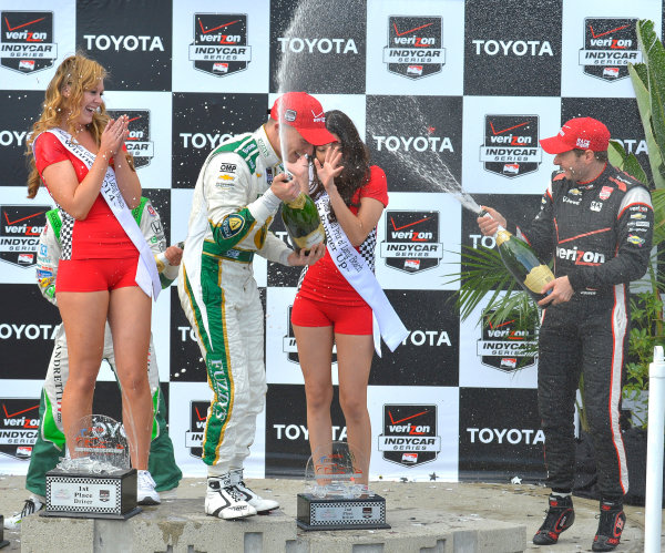 "11-13 April, 2014, Long Beach, California USA #20 Mike Conway Fuzzy""s Vodka/ Ed Carpenter Racing, race winner with Will Power and champagne shower ©2014, Dan R. Boyd Lat Photo USA"