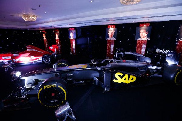 2014 Autosport Awards. Grosvenor House Hotel, Park Lane, London. Sunday 7 December 2014. McLaren F1 car and MSV Formula 2 car. World Copyright: Sam Bloxham/LAT Photographic. ref: Digital Image _14P3474