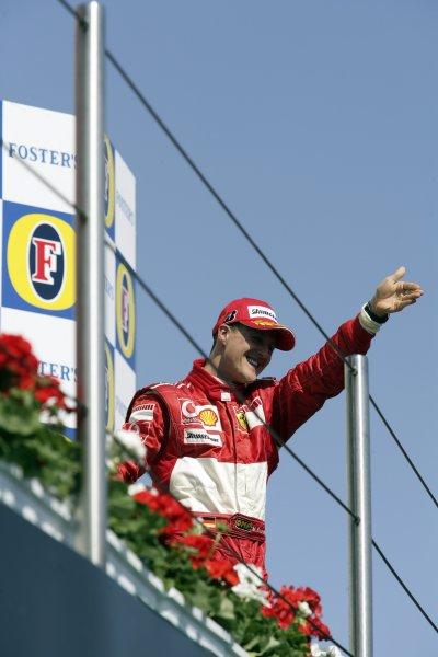 2006 San Marino Grand Prix - Sunday Race Imola, Italy. 20th - 23rd April 2006 Michael Schumacher, Ferrari 248F1, 1st position, podium. World Copyright: Charles Coates/LAT Photographic ref: Digital Image ZK5Y0462