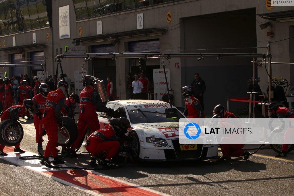 Timo Scheider (GER), Audi Sport Team Abt, AUTO TEST Audi A4 DTM (2009), makes a pit stop.DTM, Rd8, Oschersleben, Germany, 16-18 September 2011 Ref: Digital Image dne1117se608