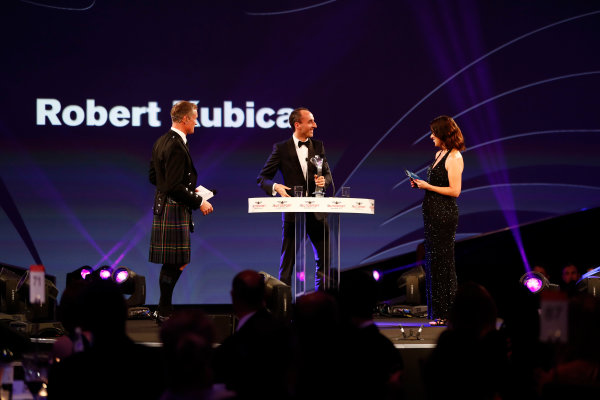 2017 Autosport Awards Grosvenor House Hotel, Park Lane, London. Sunday 3 December 2017. Robert Kubica with presenters David Coulthard and Lee McKenzie. World Copyright: Joe Portlock/LAT Images Ref: Digital Image _o3i7071