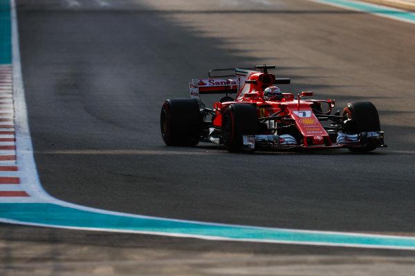 Yas Marina Circuit, Abu Dhabi, United Arab Emirates. Tuesday 28 November 2017. Kimi Raikkonen, Ferrari SF70H.  World Copyright: Zak Mauger/LAT Images  ref: Digital Image _56I5631