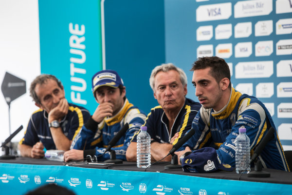 2015/2016 FIA Formula E Championship. London ePrix, Battersea Park, London, United Kingdom. Sunday 3 July 2016. Sebastien Buemi (SUI), Renault e.Dams Z.E.15 and Nicolas Prost (FRA), Renault e.Dams Z.E.15 post race press conference. Photo: Andrew Ferraro/LAT/Formula E ref: Digital Image _FER7675