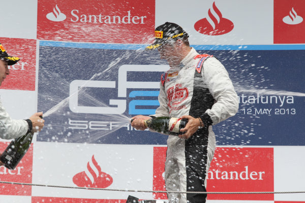 2013 GP2 Series. Round 3.  Circuit de Catalunya, Barcelona Spain. 12th May 2013. Sunday Race. Stefano Coletti (MON, Rapax) celebrates his victory on the podium.  World Copyright: Malcolm Griffiths/GP2 Series Media Service. Ref: C76D6032
