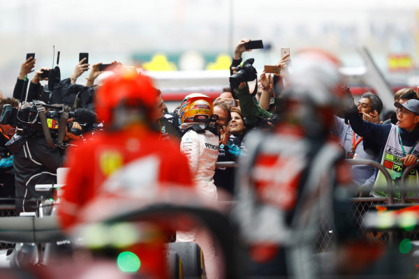 Shanghai International Circuit, Shanghai, China.  Sunday 09 April 2017.  Lewis Hamilton, Mercedes AMG, 1st Position, celebrates on arrival in Parc Ferme. World Copyright: Steven Tee/LAT Images  ref: Digital Image _O3I5341
