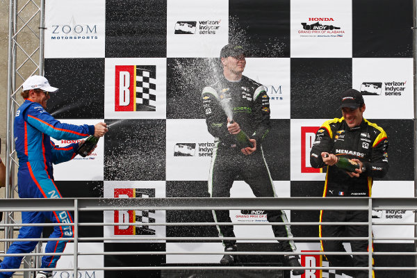 2017 Verizon IndyCar Series Honda Indy Grand Prix of Alabama Barber Motorsports Park, Birmingham, AL USA Sunday 23 April 2017 Josef Newgarden, Team Penske Chevrolet, Scott Dixon, Chip Ganassi Racing Teams Honda, Simon Pagenaud, Team Penske Chevrolet celebrate with champagne on podium World Copyright: Phillip Abbott LAT Images ref: Digital Image abbott_barber_0417_6651