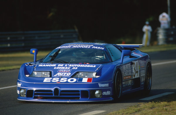 1994 Le Mans 24 Hours. Le Mans, France. 18th - 19th June 1994. Alain Cudini/Eric Helary/Jean-Christophe Boullion (Bugatti EB110 SS), retired, action.  World Copyright: LAT Photographic. Ref:  94LM17