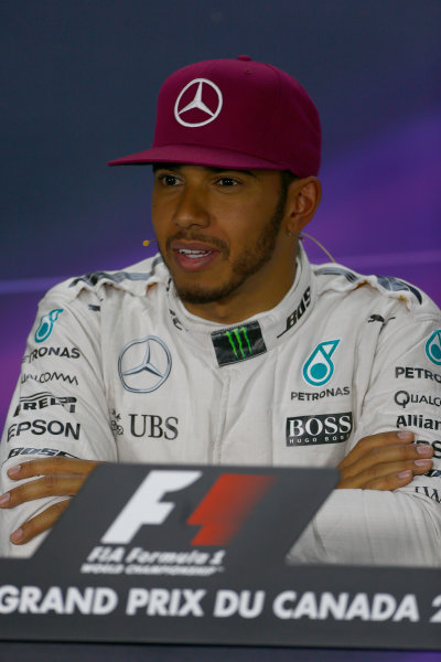 Circuit Gilles Villeneuve, Montreal, Canada. Saturday 11 June 2016. Pole man Lewis Hamilton, Mercedes AMG, in the post Qualifying Press Conference. World Copyright: Andy Hone/LAT Photographic ref: Digital Image _ONY7761