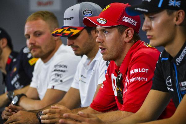Sebastian Vettel, Ferrari, George Russell, Williams Racing, Carlos Sainz Jr, McLaren and Valtteri Bottas, Mercedes AMG F1 in Press Conference
