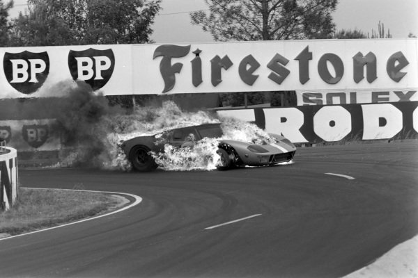 Mike Salmon / Brian Redman, John Wyer Automotive Engineering, Ford GT40, retires in flames after a fuel cap issue on lap 220. Mike Salmon suffered burns and scarring but resumed competitive racing the following year.