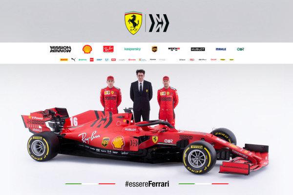 The Ferrari SF1000 is launched. L-R: Charles Leclerc, Ferrari, Mattia Binotto, Team Principal Ferrari, and Sebastian Vettel, Ferrari. NOTE TO EDITORS: COPYRIGHT FERRARI, EDITORIAL USE ONLY