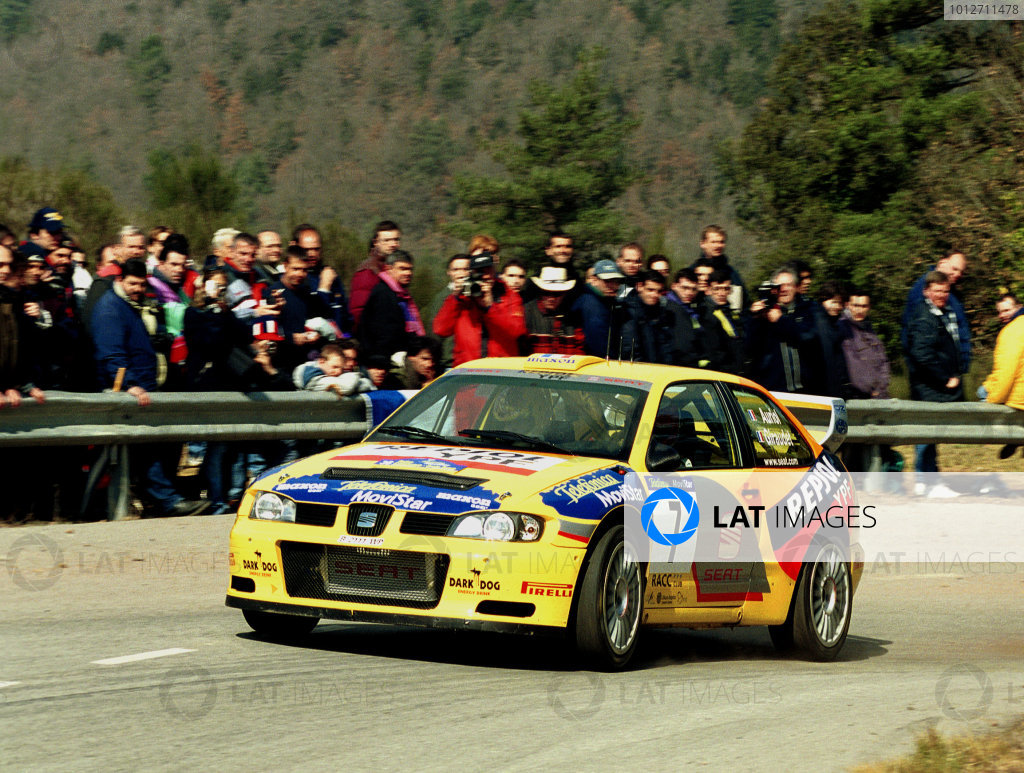 Didier Auriol in action in his Seat Cordoba WRC at the Pre event shakedown
