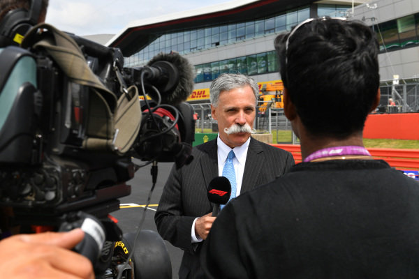 Chase Carey, Chairman, Formula 1 speaks to the media