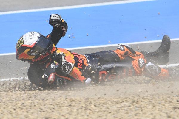 Crash of Brad Binder, Red Bull KTM Factory Racing.