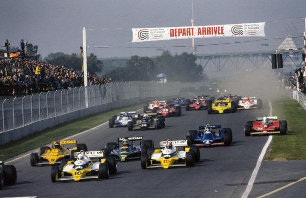 René Arnoux, Renault RS10 leads team mate Jean-Pierre Jabouille, Renault RS10, Hans-Joachim Stuck, ATS D3 Ford and Carlos Reutemann, Lotus 79 Ford as Jody Scheckter, Ferrari 312T4 gets on the grass.