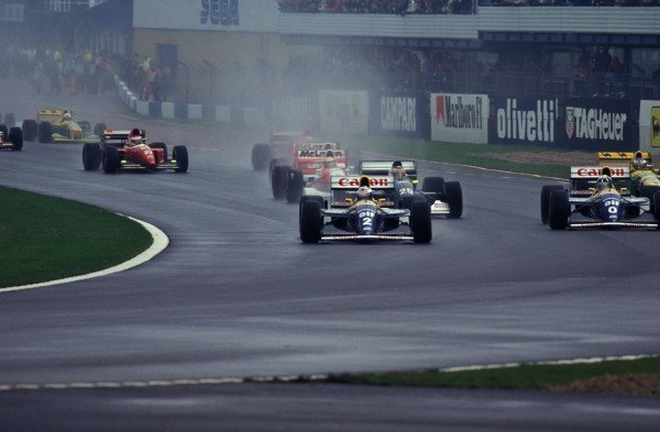Alain Prost, Williams FW15C Renault, leads Damon Hill, Williams FW15C Renault, Karl Wendlinger, Sauber C12, and Ayrton Senna, McLaren MP4-8 Ford.