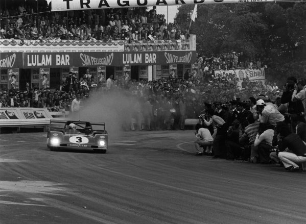 1973 Targa Florio. Little Madonie Circuit, Sicily, Italy. 13th May 1973. Arturo Merzario/Nino Vaccarella (Ferrari 312 PB), retired, blasts away from the start.  Ref: 5336/11. World Copyright: LAT Photographic