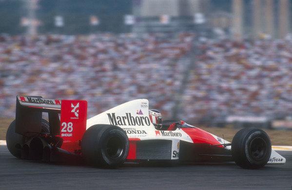 1990 Brazilian Grand Prix.Interlagos, Sao Paulo, Brazil.23-25 March 1990.Gerhard Berger (McLaren MP4/5B Honda) 2nd position.Ref-90 BRA 01.World Copyright - LAT Photographic