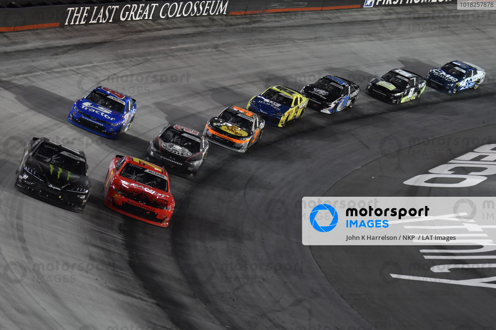 #18: Riley Herbst, Joe Gibbs Racing, Toyota Supra Monster Energy, #7: Justin Allgaier, JR Motorsports, Chevrolet Camaro BRANDT