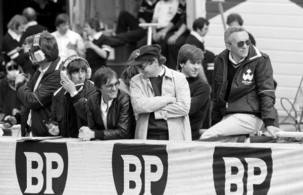 (L to R): Bernie Ecclestone (GBR) Brabham Team Owner watches the action from the pit wall with Niki Lauda (AUT). Behind Lauda is Ricardo Zunino (ARG), who was replaced as a driver by Hector Rebaque (MEX).